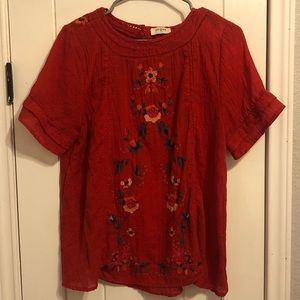 Medium Red Floral Blouse